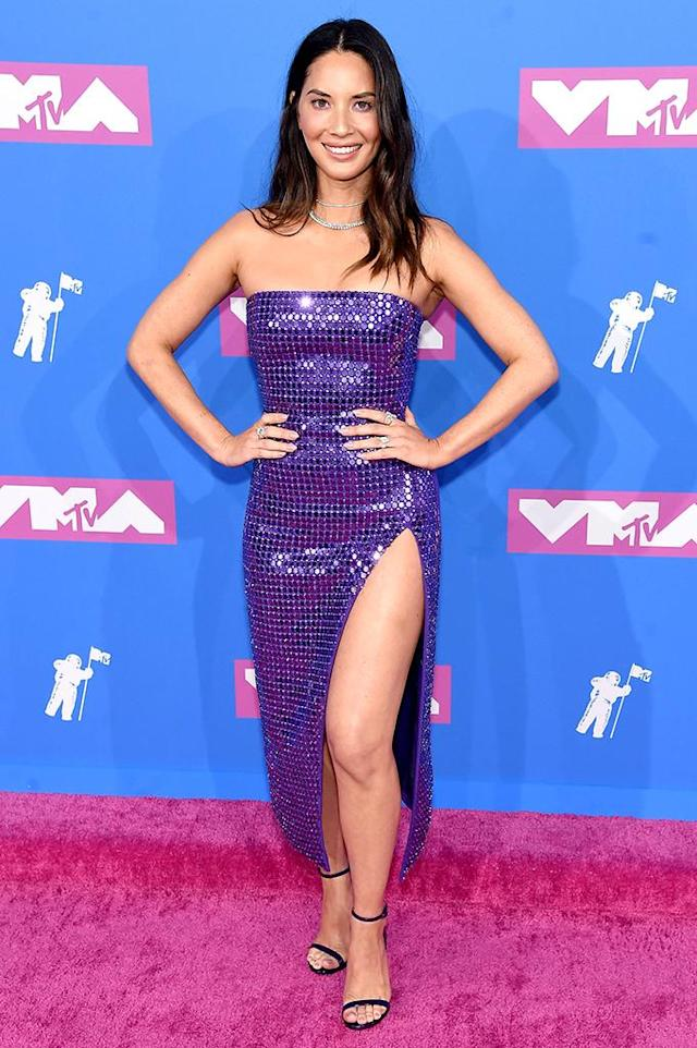 <p>Olivia Munn attends the 2018 MTV Video Music Awards at Radio City Music Hall on August 20, 2018 in New York City. (Photo: Jamie McCarthy/Getty Images) </p>
