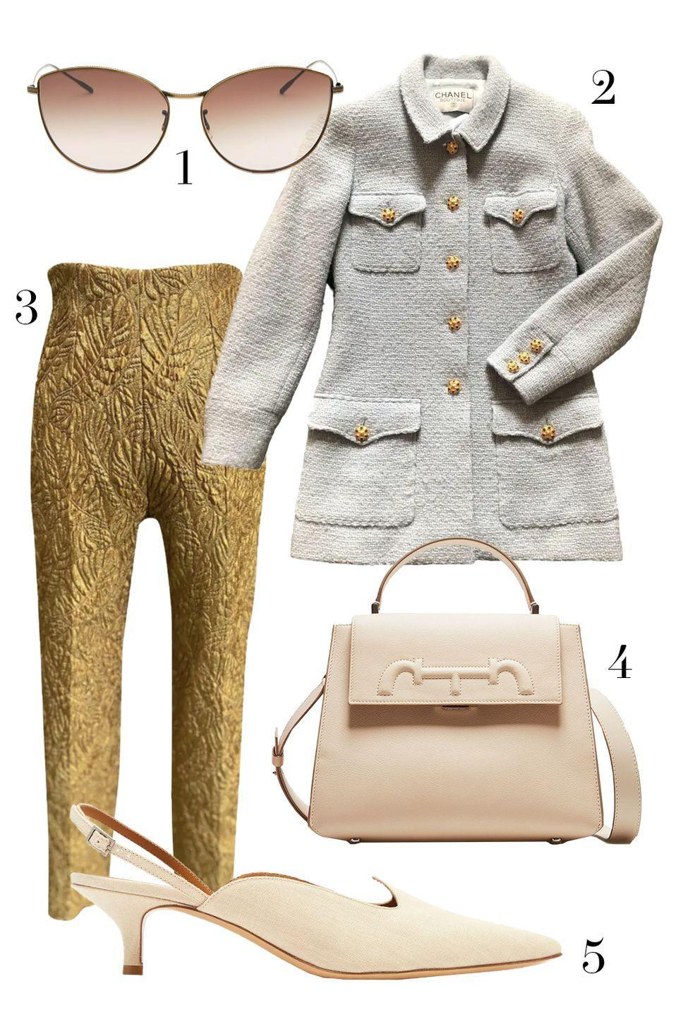 "<p>If you are lucky you will score a stand out piece while scouring vintage sites and stores—like these Dior pants. Surprisingly finding that treasured wardrobe staple—like this Chanel jacket—can be even harder. If you manage to track down both, go with neutral accessories to truly show off your shopping prowess. </p><ol><li><a href=""https://go.skimresources.com?id=74968X1525087&xs=1&url=https%3A%2F%2Fwww.saksfifthavenue.com%2Foliver-peoples-rayette-60mm-cat-eye-sunglasses%2Fproduct%2F0400097144495%3FFOLDER%253C%253Efolder_id%3D2534374306418154%26R%3D827934414365%26P_name%3DOliver%2BPeoples%26N%3D306418154%2B4294929615%2B4294929612%2B4294929608%2B4294929613%26bmUID%3DnddSB7M"" rel=""nofollow noopener"" target=""_blank"" data-ylk=""slk:Oliver Peoples"" class=""link rapid-noclick-resp"">Oliver Peoples</a> 2. <a href=""https://go.skimresources.com?id=74968X1525087&xs=1&url=https%3A%2F%2Fus.vestiairecollective.com%2Fwomen-clothing%2Fjackets%2Fchanel%2Fblue-wool-chanel-jacket-10831892.shtml"" rel=""nofollow noopener"" target=""_blank"" data-ylk=""slk:Chanel via Vestaire Collective"" class=""link rapid-noclick-resp"">Chanel via Vestaire Collective </a>3. <a href=""https://us.vestiairecollective.com/women-clothing/trousers/dior/"" rel=""nofollow noopener"" target=""_blank"" data-ylk=""slk:Christian Dior via Vestair Collective"" class=""link rapid-noclick-resp"">Christian Dior via Vestair Collective</a> 4. <a href=""https://go.skimresources.com?id=74968X1525087&xs=1&url=https%3A%2F%2Fchcarolinaherrera.com%2Fgb%2Fen%2Fwomen%2Fbags%2Fhandbags%2Fitem%2Fdoma-insignia-satchel-medium-shoulder-bag-magnolia"" rel=""nofollow noopener"" target=""_blank"" data-ylk=""slk:CH Carolina Herrera"" class=""link rapid-noclick-resp"">CH Carolina Herrera</a> 5. <a href=""https://go.skimresources.com?id=74968X1525087&xs=1&url=https%3A%2F%2Fwww.matchesfashion.com%2Fus%2Fproducts%2FLe-Monde-Beryl-Point-toe-linen-slingback-pumps-1350228"" rel=""nofollow noopener"" target=""_blank"" data-ylk=""slk:Le Monde Beryl"" class=""link rapid-noclick-resp"">Le Monde Beryl</a></li></ol>"
