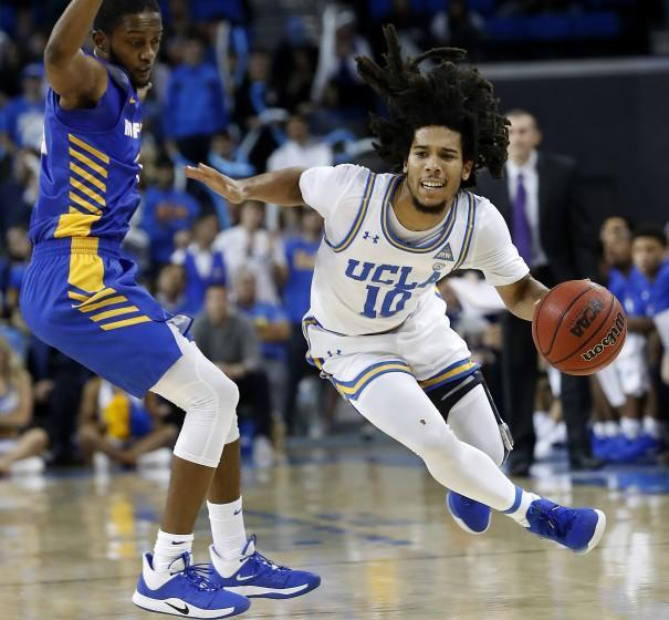 Bruins guard Tyger Campbell brings the ball upcourt against Hofstra on Nov. 21, 2019, at Pauley Pavilion.