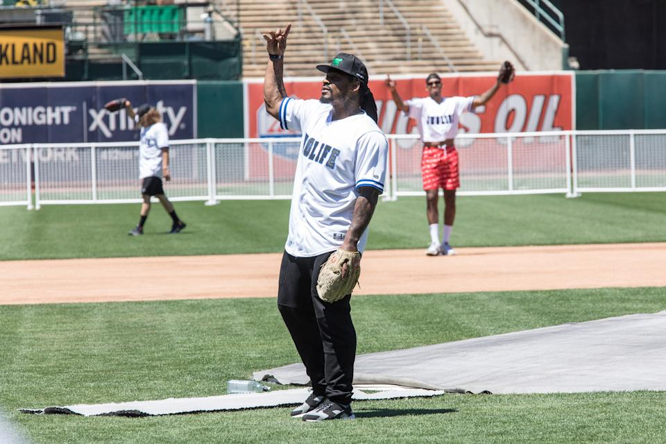 OAKLAND, CA - JUNE 23:  Oakland Raiders running back Marshawn Lynch plays in Water For Life Charity Softball Game at Oakland-Alameda County Coliseum on June 23, 2018 in Oakland, California.  (Photo by Miikka Skaffari/Getty Images)