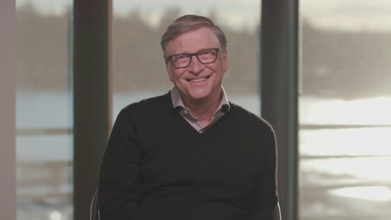 LOS ANGELES - OCTOBER 21: James chats with Bill Gates on THE LATE LATE SHOW WITH JAMES CORDEN, scheduled to air Wednesday October 21, 2020 (12:37-1:37 AM, ET/PT) on the CBS Television Network. Image is a screen grab. (Photo by CBS via Getty Images)