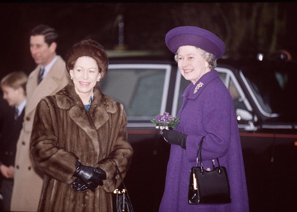 "<p>Princess Margaret and Queen Elizabeth share a moment after the service. (<a href=""https://people.com/royals/11-vintage-photos-of-the-royal-family-celebrating-the-holidays-at-sandringham"" rel=""nofollow noopener"" target=""_blank"" data-ylk=""slk:See more vintage photos from their childhood Christmases here"" class=""link rapid-noclick-resp"">See more vintage photos from their childhood Christmases here</a>.)</p>"