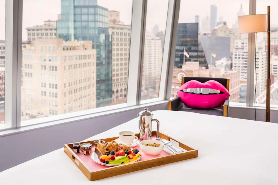 At The Standard, East Village, you'll find floor-to-ceiling windows; plush, made-for-Instagram lip-shaped pillows; and a restaurant pouring murky biodynamic wine. Formerly the Cooper Square Hotel, the 21-story boutique hotel has it all: cozy bathrobes, high-tech speakers and TVs, the option to check out whenever, a restaurant that locals clamor to get into, a gay bar that hosts drag events, and a quaint courtyard garden. Okay, the one thing it doesn't have is spacious rooms. Or a pool. But you're in lower Manhattan, be reasonable.