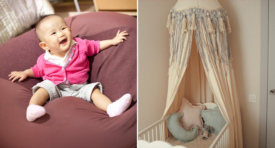 a cute kid on a bean bag (left) and a pretty cot decorated with items that could pose a suffocation risk (right)