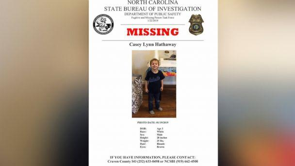 PHOTO: Authorities are searching Casey Lynn Hathaway, a missing 3-year-old boy. (Craven County Sheriff's Office)