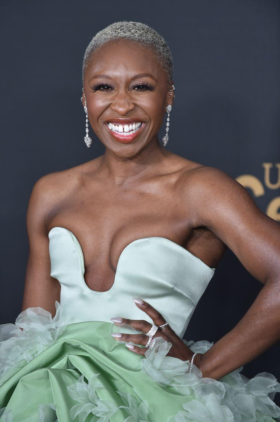 """<p>Actress <strong>Cynthia Erivo</strong> is one of our fave hair color chameleons, donning a silvery hued pixie cut that is truly stunning. </p><p><strong>RELATED: </strong><a href=""""https://www.goodhousekeeping.com/beauty/hair/a46081/transitioning-from-color-to-gray-hair/"""" rel=""""nofollow noopener"""" target=""""_blank"""" data-ylk=""""slk:5 Things to Know Before You Transition Your Dyed Hair to Natural Gray"""" class=""""link rapid-noclick-resp"""">5 Things to Know Before You Transition Your Dyed Hair to Natural Gray</a></p>"""