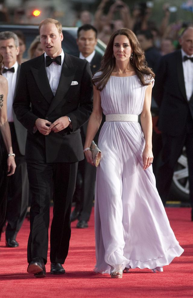 For a BAFTA reception back in 2011, the Duchess of Cambridge opted for a lilac-hued gown by Alexander McQueen. (Photo: Getty)