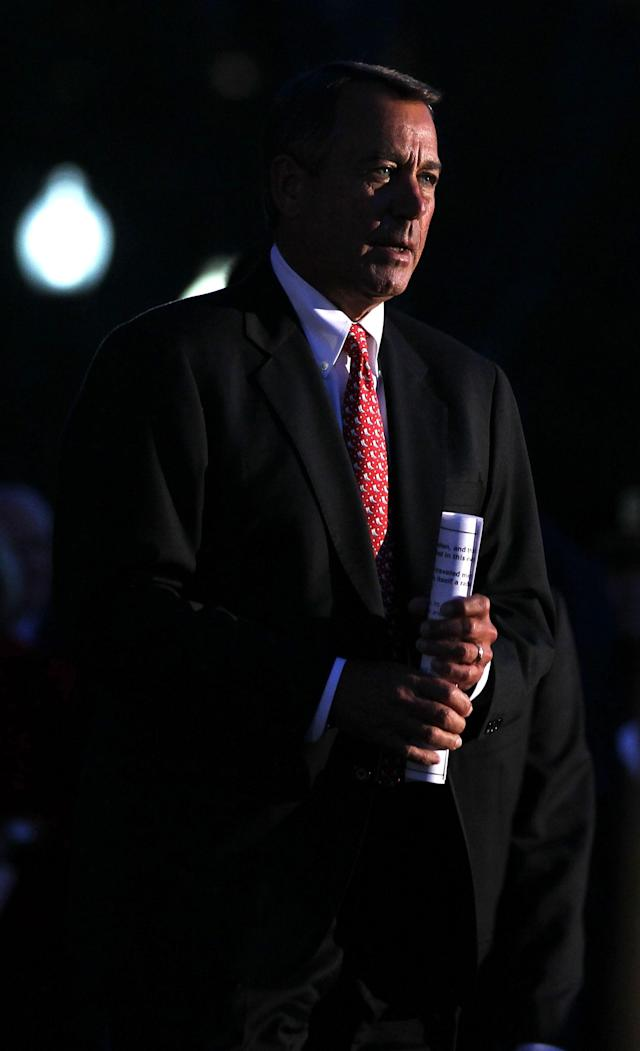 WASHINGTON, DC - DECEMBER 04: U.S. Speaker of the House Rep. John Boehner (R-OH) arrives at the lighting ceremony of the 2012 Capitol Christmas Tree December 4, 2012 at the West Front Lawn of the U.S. Capitol in Washington, DC. The year's tree is a 65-foot Engelmann spruce from the Blanco Ranger District of the White River National Forest in Colorado. (Photo by Alex Wong/Getty Images)