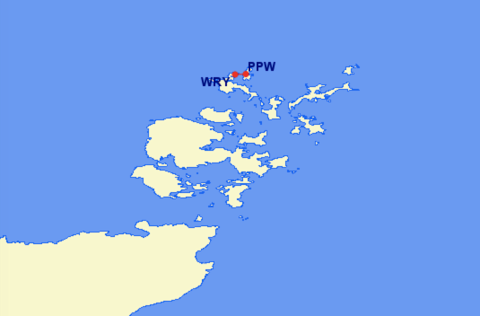 Short haul: The two-mile link between Westray (WRY) and Papa Westray (PPW) in OrkneyGreat Circle Mapper