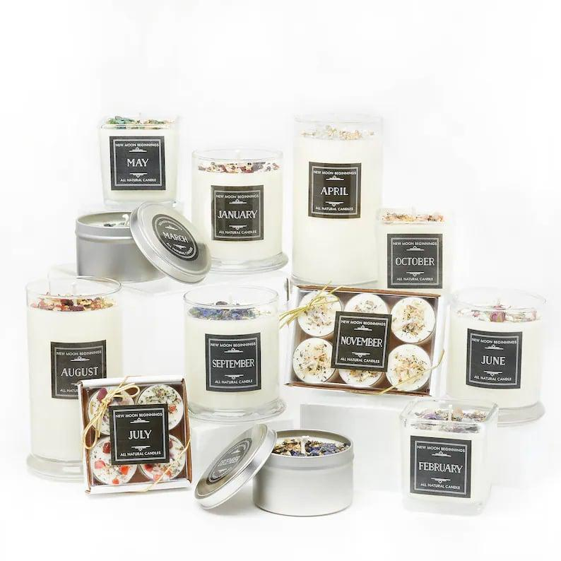<p>If they love candles or have a spiritual soul, they'll thank you endlessly for these <span>Handmade Birthstone Candles</span> ($10-$55). Each month has a specific scent and is made with its respective stone.</p>