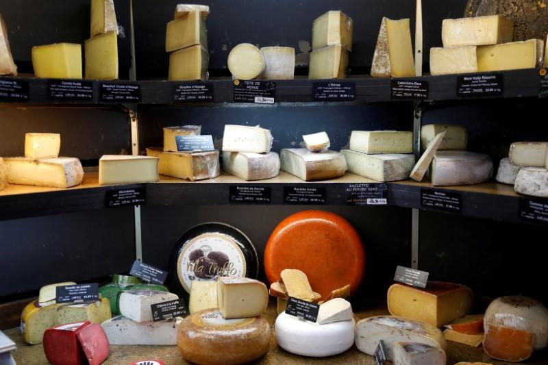 FILE PHOTO: Pieces of cheese are seen inside Beaufils cheesemonger in Paris
