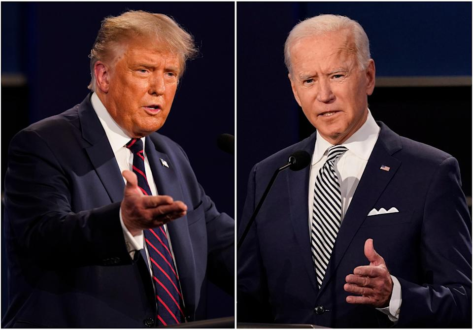 President Donald Trump, left, and former Vice President Joe Biden during the first presidential debate at Case Western University and Cleveland Clinic, in Cleveland, Ohio on 29 September 2020 ((Associated Press))