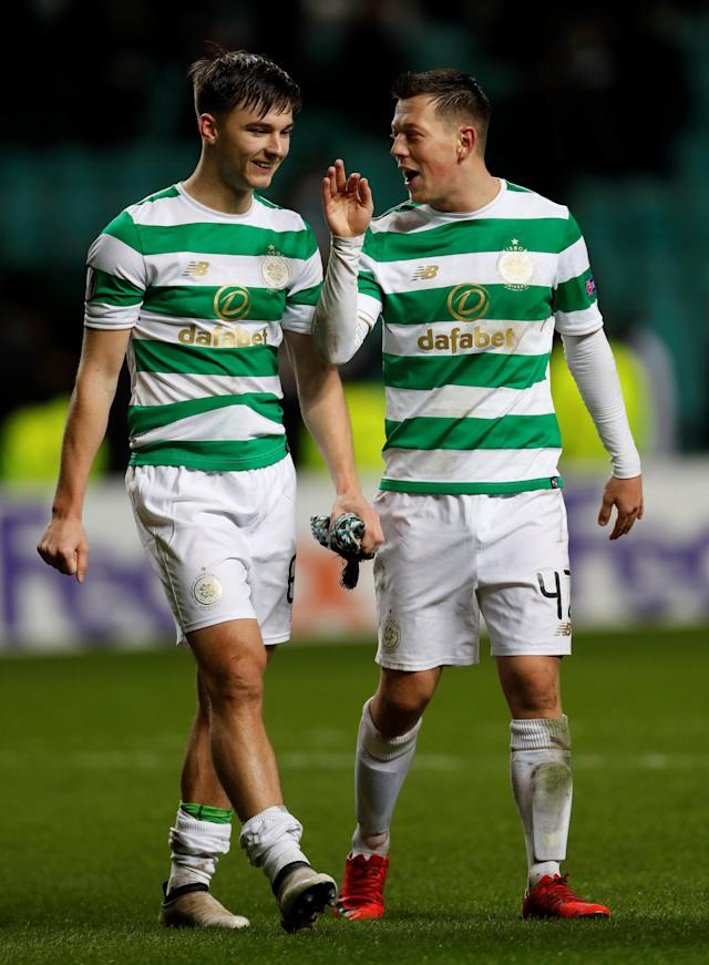 Soccer Football - Europa League Round of 32 First Leg - Celtic vs Zenit Saint Petersburg - Celtic Park, Glasgow, Britain - February 15, 2018 Celtic's Callum McGregor and Kieran Tierney after the match Action Images via Reuters/Lee Smith