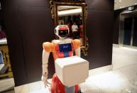 AI-powered robots work at the Hotel Sky in Johannesburg