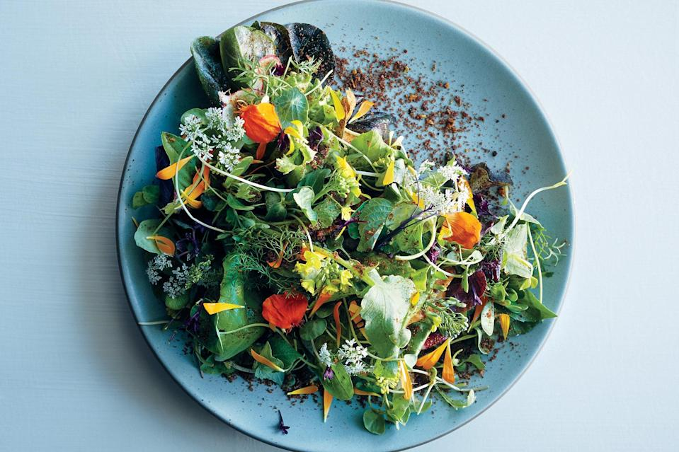 """While we love the fancy lettuces at the farmers market, the herbed avocado base of this dish will elevate even the most basic supermarket greens. <a href=""""https://www.epicurious.com/recipes/food/views/young-lettuces-with-herbed-avocado-56389981?mbid=synd_yahoo_rss"""" rel=""""nofollow noopener"""" target=""""_blank"""" data-ylk=""""slk:See recipe."""" class=""""link rapid-noclick-resp"""">See recipe.</a>"""