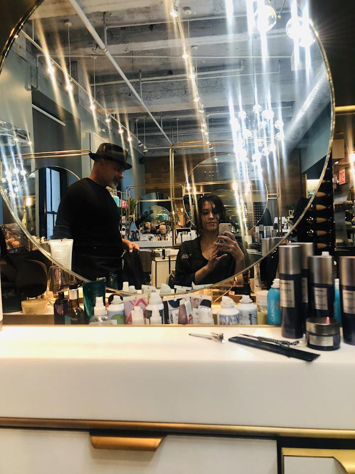 "<p>Once we lobbed off six inches of hair - a process that took a whopping three (!) minutes -  we moved on to <a href=""https://www.popsugar.com/beauty/How-Style-Curly-Bob-Haircut-46495023"" class=""ga-track"" data-ga-category=""Related"" data-ga-label=""https://www.popsugar.com/beauty/How-Style-Curly-Bob-Haircut-46495023"" data-ga-action=""In-Line Links"">styling</a>. Warren worked in a mousse throughout my damp hair and scrunched, scrunched, scrunched to give it volume and hold. (He used the <a href=""https://www.popsugar.com/buy/Goldwell-Kerasilk-Style-Bodifying-Volume-Mousse-490397?p_name=Goldwell%20Kerasilk%20Style%20Bodifying%20Volume%20Mousse&retailer=amazon.com&pid=490397&price=22&evar1=bella%3Auk&evar9=46609029&evar98=https%3A%2F%2Fwww.popsugar.com%2Fbeauty%2Fphoto-gallery%2F46609029%2Fimage%2F46614037%2FHow-to-Style-Your-Bob-Haircut&list1=hair%2Cbeauty%20trends%2Chair%20trends%2Cbeauty%20essay%2Ceditor%20experiments&prop13=api&pdata=1"" rel=""nofollow"" data-shoppable-link=""1"" target=""_blank"" class=""ga-track"" data-ga-category=""Related"" data-ga-label=""https://www.amazon.com/Goldwell-Kerasilk-Bodifying-Mousse-ThisSize4-9/dp/B075FD744M"" data-ga-action=""In-Line Links"">Goldwell Kerasilk Style Bodifying Volume Mousse</a> ($22); I love and swear by the <a href=""https://www.popsugar.com/buy/John-Frieda-Frizz-Ease-Take-Charge-Curl-Boosting-Mousse-490398?p_name=John%20Frieda%20Frizz-Ease%20Take%20Charge%20Curl-Boosting%20Mousse&retailer=ulta.com&pid=490398&price=9&evar1=bella%3Auk&evar9=46609029&evar98=https%3A%2F%2Fwww.popsugar.com%2Fbeauty%2Fphoto-gallery%2F46609029%2Fimage%2F46614037%2FHow-to-Style-Your-Bob-Haircut&list1=hair%2Cbeauty%20trends%2Chair%20trends%2Cbeauty%20essay%2Ceditor%20experiments&prop13=api&pdata=1"" rel=""nofollow"" data-shoppable-link=""1"" target=""_blank"" class=""ga-track"" data-ga-category=""Related"" data-ga-label=""https://www.ulta.com/frizz-ease-take-charge-curl-boosting-mousse?productId=xlsImpprod620036&amp;sku=2158937&amp;cmpid=PS_Non!google!Product_Listing_Ads&amp;cagpspn=pla&amp;CATCI=aud-296846808402:pla-439757556911&amp;CAAGID=22029284310&amp;CAWELAID=203517350&amp;CATARGETID=330000200001419355&amp;CADevice=c&amp;gclid=Cj0KCQjw2efrBRD3ARIsAEnt0egcNPc5bOFUj_CrJkC_oOSmsw0iTQ2uPP4CUZK5B9yGjK2s8zCkoboaAt5mEALw_wcB"" data-ga-action=""In-Line Links"">John Frieda Frizz-Ease Take Charge Curl-Boosting Mousse</a> ($9).) </p> <p>Then, a wild revelation: ""I'm only going to use a diffuser to dry your hair,"" he said. I clearly looked shocked. ""A lot of people with fine hair don't know when they actually have a natural wave to their hair. A diffuser will bring out your curls."" </p>"