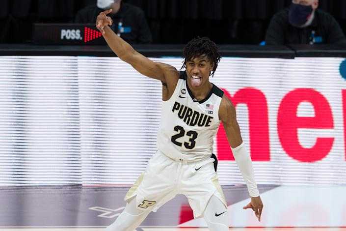 Purdue guard Jaden Ivey (23) celebrates hitting a 3-pointer during the Big Ten tournament on March 12. (Zach Bolinger/Icon Sportswire via Getty Images)