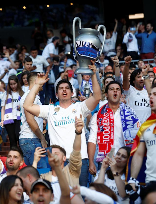 Soccer Football - Real Madrid fans watch the Champions League Final - Madrid, Spain - May 26, 2018 Real Madrid fans before the match REUTERS/Javier Barbancho