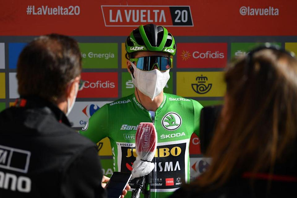 AGUILAR DE CAMPOO SPAIN  OCTOBER 29 Start  Primoz Roglic of Slovenia and Team Jumbo  Visma Green Points Jersey  Interview  Press  Media  Cid Campeador Military Base Castrillo del Val  Team Presentation  during the 75th Tour of Spain 2020 Stage 9 a 1577km stage from Cid Campeador Military Base Castrillo del Val to Aguilar de Campoo  lavuelta  LaVuelta20  on October 29 2020 in Aguilar de Campoo Spain Photo by Justin SetterfieldGetty Images
