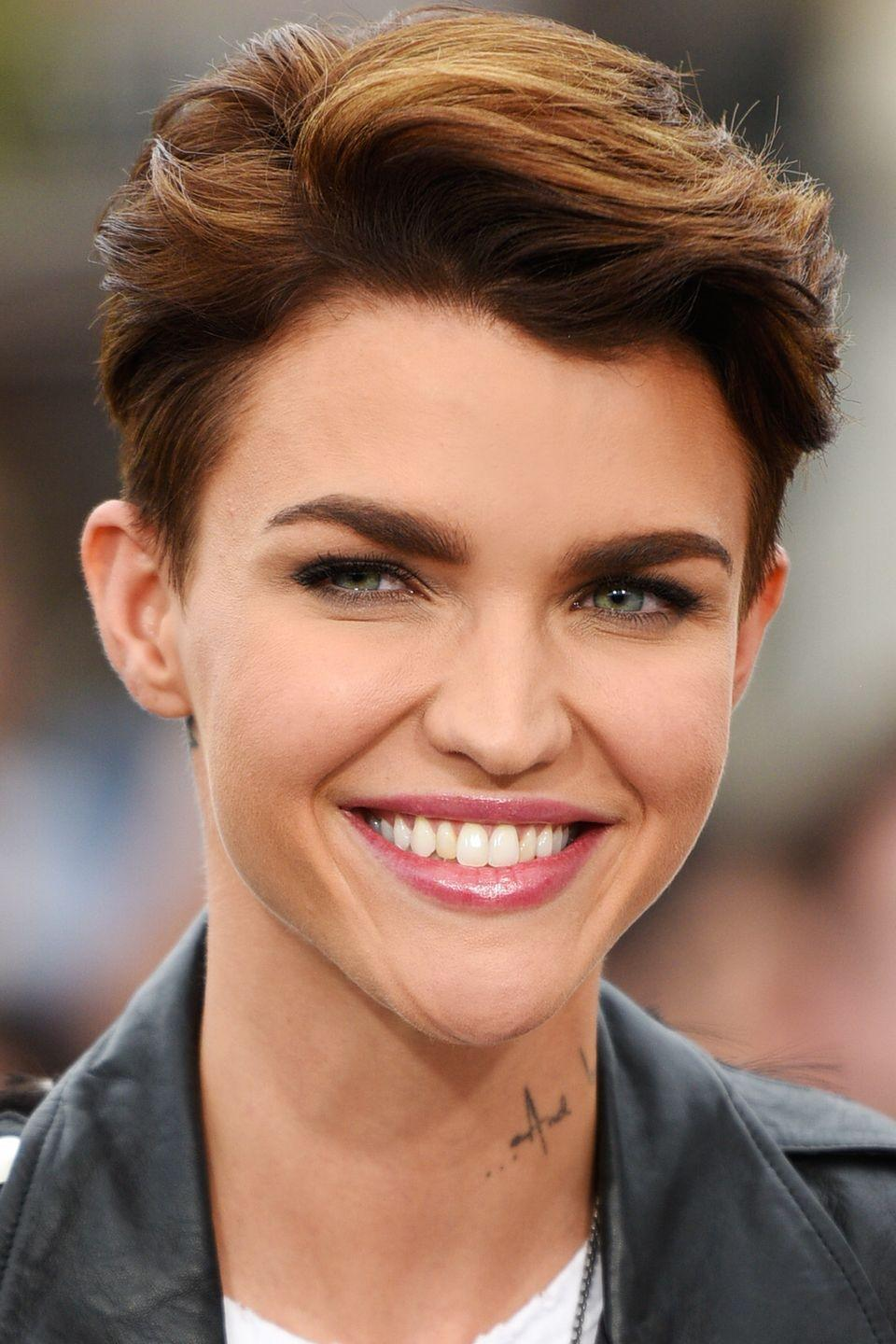 <p>Actress Ruby Rose adds soft waves to her short hair for some added volume to frame her strong features. </p>