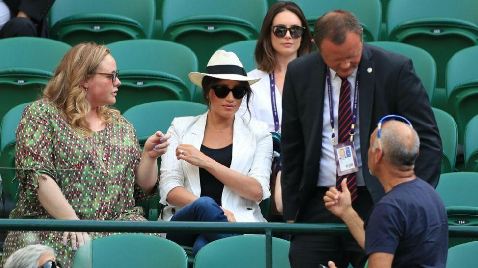Meghan Markle's security asked fans to stop taking photos of her at Wimbledon earlier this month.