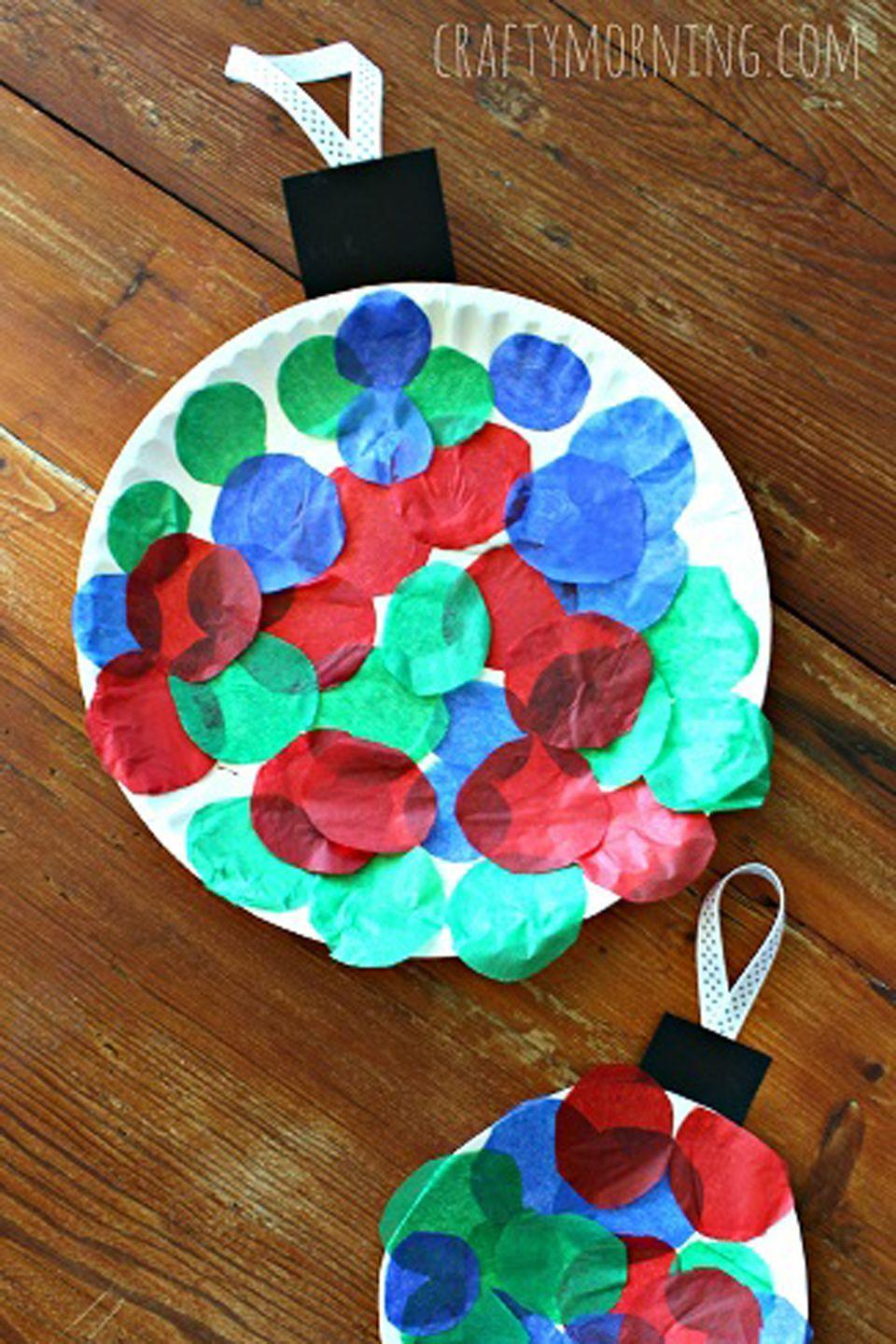 "<p><span class=""redactor-invisible-space"">Finally, a bauble that can't break!</span></p><p><strong>Get the tutorial at <a href=""https://www.craftymorning.com/paper-plate-christmas-ornament-craft-kids/"" rel=""nofollow noopener"" target=""_blank"" data-ylk=""slk:Crafty Morning"" class=""link rapid-noclick-resp"">Crafty Morning</a>.</strong></p>"