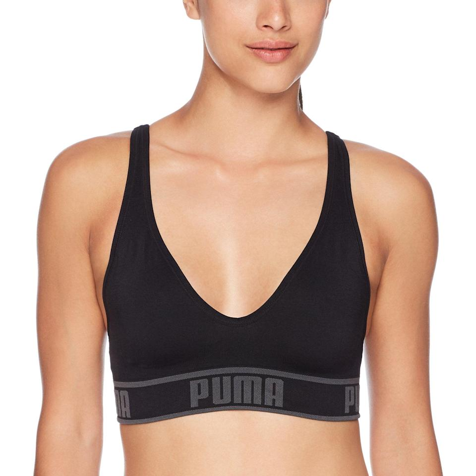 "<h3>Puma Solstice Seamless Sports Bra</h3><br>Puma's deep-V sports bra is sneakily on sale for $15 and change — run, don't walk. <br><br><strong>PUMA</strong> Solstice Seamless Sports Bra, $, available at <a href=""https://amzn.to/3jHe6UA"" rel=""nofollow noopener"" target=""_blank"" data-ylk=""slk:Amazon"" class=""link rapid-noclick-resp"">Amazon</a>"
