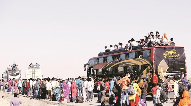 India lockdown, Migrant workers, UP govt buses, coronavirus outbreak, indian express news