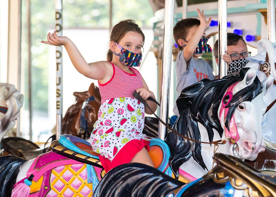 Guests are supposed keep their masks on even while riding the rides at Hersheypark, July 9, 2020.
