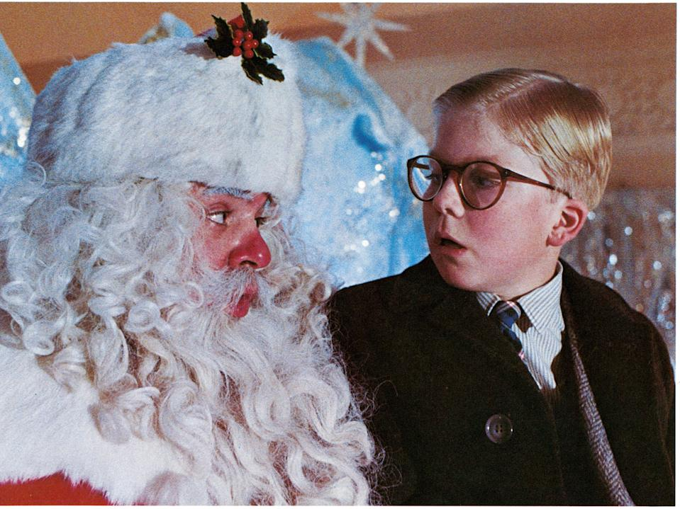 """Peter Billingsley sits on Santa's lap in """"A Christmas Story."""""""