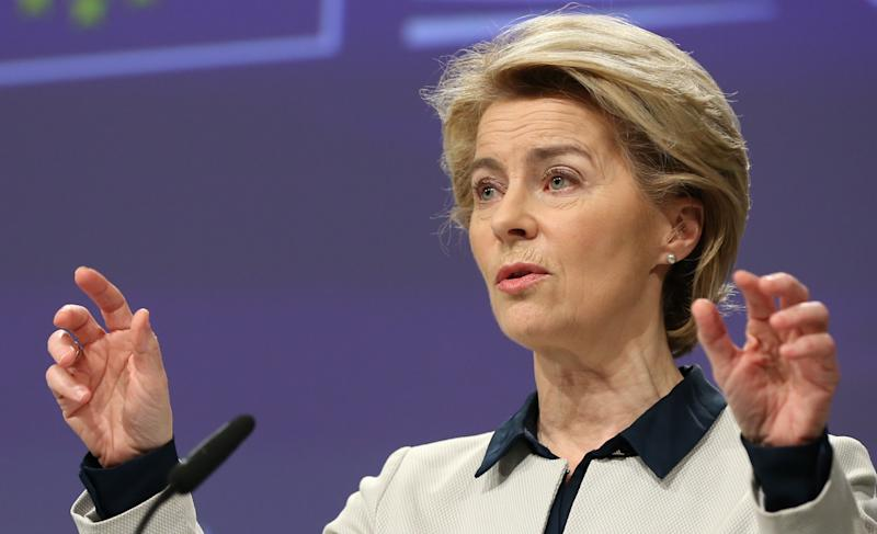 BRUSSELS, BELGIUM - MARCH 13: European Commission President Ursula von der Leyen, Executive Vice President of the European Commission for a Europe Fit for the Digital Age and European Commissioner for Competition, Margrethe Vestager (not seen) and EU Commissioner as Executive Vice President for an Economy that Works for People Valdis Dombrovskis (not seen) hold a joint press conference on coronavirus (Covid-19) crisis in Brussels, Belgium on March 13, 2020. (Photo by Dursun Aydemir/Anadolu Agency via Getty Images)