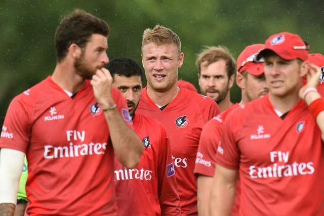 Flintoff (centre) came out of retirement in 2014 to join Lancashire Lightning for the T20 Blast (Joe Giddens/PA).