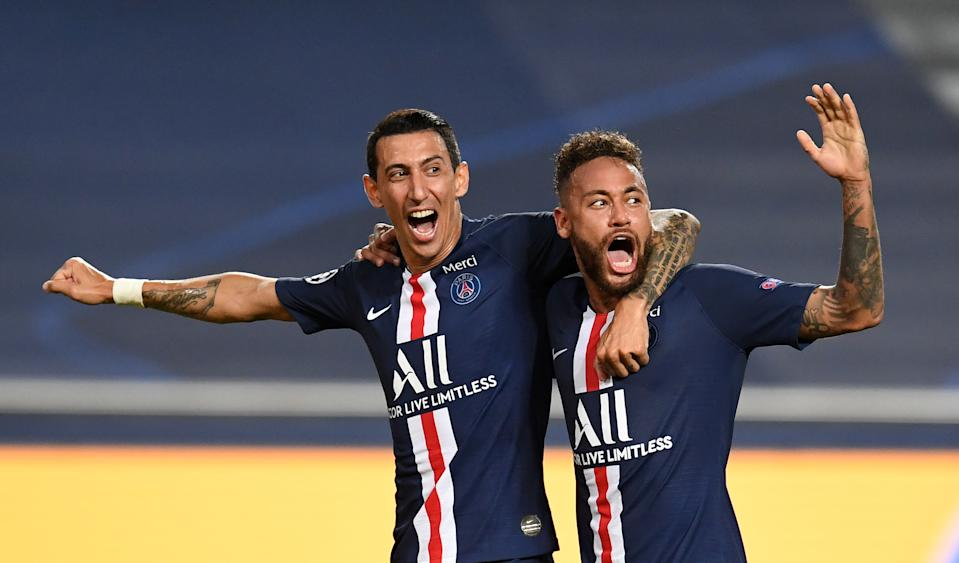 Angel Di Maria (left), Neymar (right) and their Paris Saint-Germain teammates are heading to the Champions League final after beating German upstart RB Leipzig in Tuesday's semi. (David Ramos/Getty Images)
