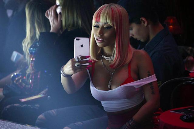<p>Nicki Minaj takes at the Philipp Plein Spring/Summer 2018 collection fashion show during New York fashion week on September 9, 2017 in New York City. (Photo by Edward James/WireImage) </p>