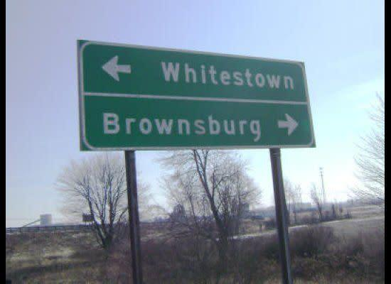 """Let's hope these towns were named a long, long time ago. (via <a href=""""http://www.shipbrook.com/jeff/blog/images/Whitestown-Brownsburg-small.jpg"""" rel=""""nofollow noopener"""" target=""""_blank"""" data-ylk=""""slk:Leapfish"""" class=""""link rapid-noclick-resp"""">Leapfish</a>)"""