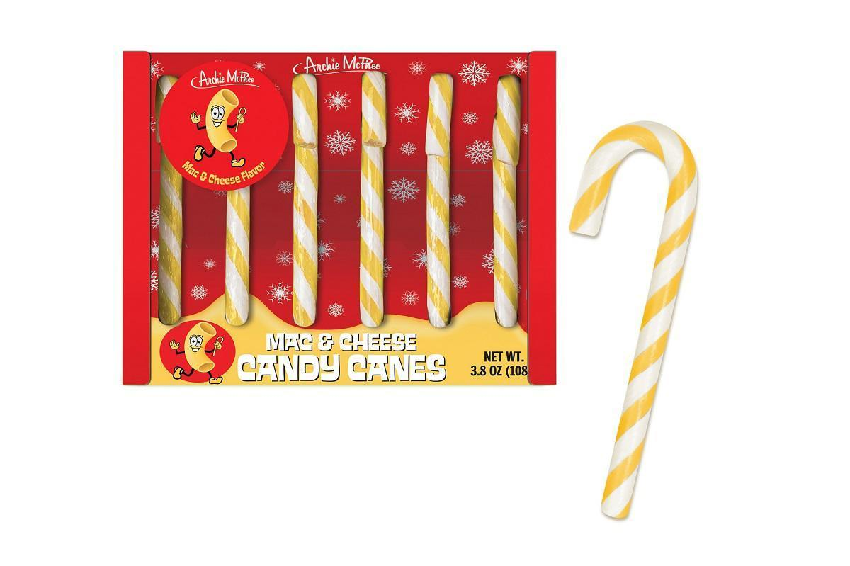"<p>This candy cane is another creation by Archie McPhee, but as we've learned, it's not one of its tastiest. They have a lingering fake-cheese flavor, <a href=""https://www.thedailymeal.com/clam-macaroni-and-cheese-candy-canes-taste-test?referrer=yahoo&category=beauty_food&include_utm=1&utm_medium=referral&utm_source=yahoo&utm_campaign=feed"">according to our taster</a>. You may be better off <a href=""https://www.thedailymeal.com/cook/gooiest-creamiest-most-over-top-macaroni-and-cheese-recipes-slideshow?referrer=yahoo&category=beauty_food&include_utm=1&utm_medium=referral&utm_source=yahoo&utm_campaign=feed"">making a delicious batch of mac and cheese</a> and having a peppermint for dessert.</p>"