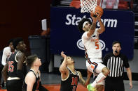 Illinois guard Andre Curbelo (5) goes up for a shot against Nebraska during the first half of an NCAA college basketball game Thursday, Feb. 25, 2021, in Champaign, Ill. (AP Photo/Holly Hart)