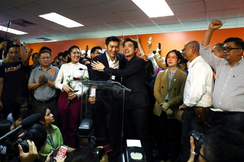 Thailand's opposition Future Forward Party leader Thanathorn Juangroongruangkit reacts after hearing the verdict from the Constitutional Court