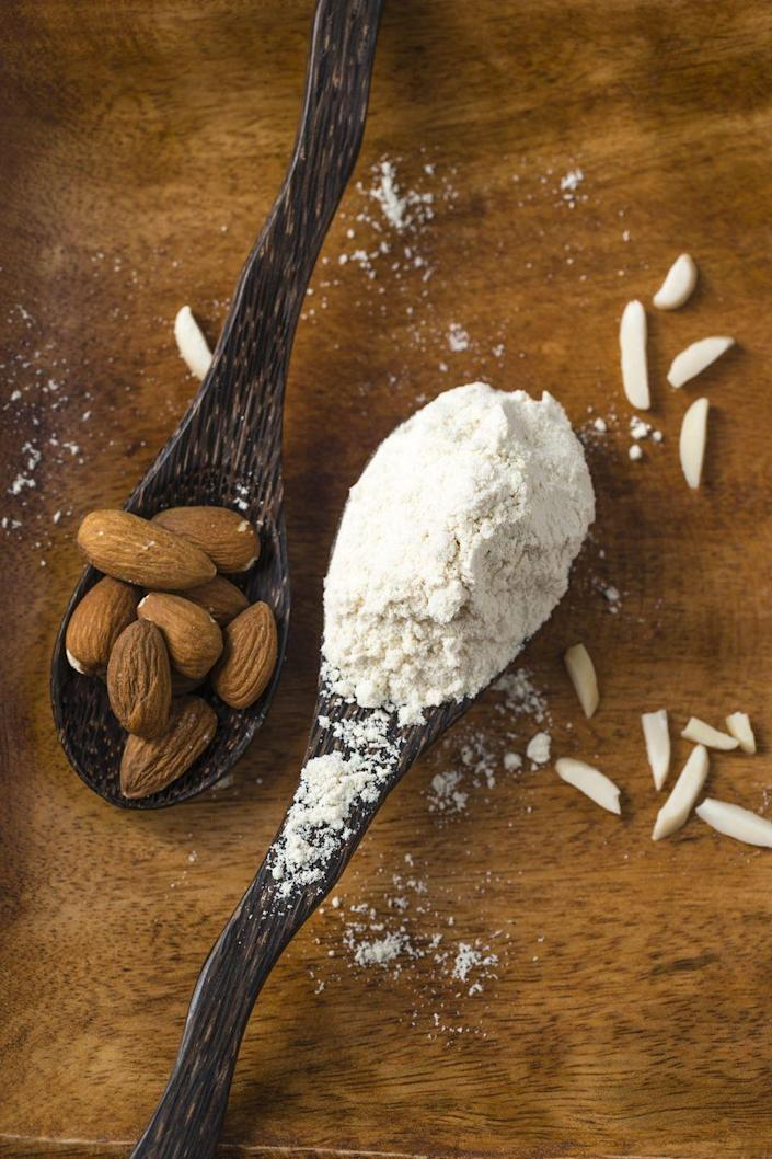 <p>Almond flour may be packed with protein, but it's also high in calories and fat, Upton points out. For example, half of a cup of almond flour contains 300 calories and 22 grams of fat, compared to 227 calories and 0.6 grams of fat in all-purpose flour.</p>