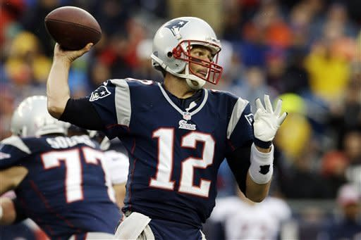 New England Patriots quarterback Tom Brady (12) passes against the Denver Broncos in the first quarter of an NFL football game, Sunday, Oct. 7, 2012, in Foxborough, Mass. (AP Photo/Elise Amendola)