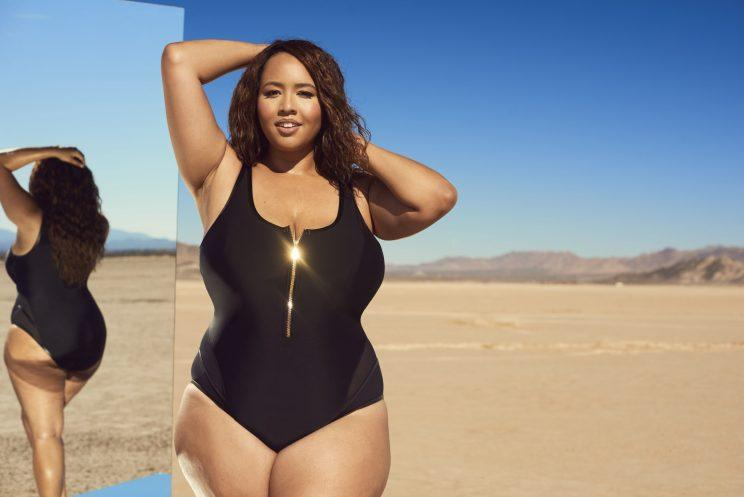 Gabi Gregg models her latest collaboration with Swimsuitsforall, launching online today. (Photo: Ryan Michael Kelly / Swimsuits For All)