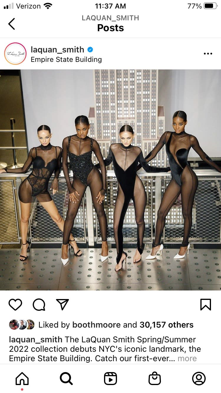 Instagram post of models posting in LaQuan Smith at the top of the Empire State Building. - Credit: Instagram post.