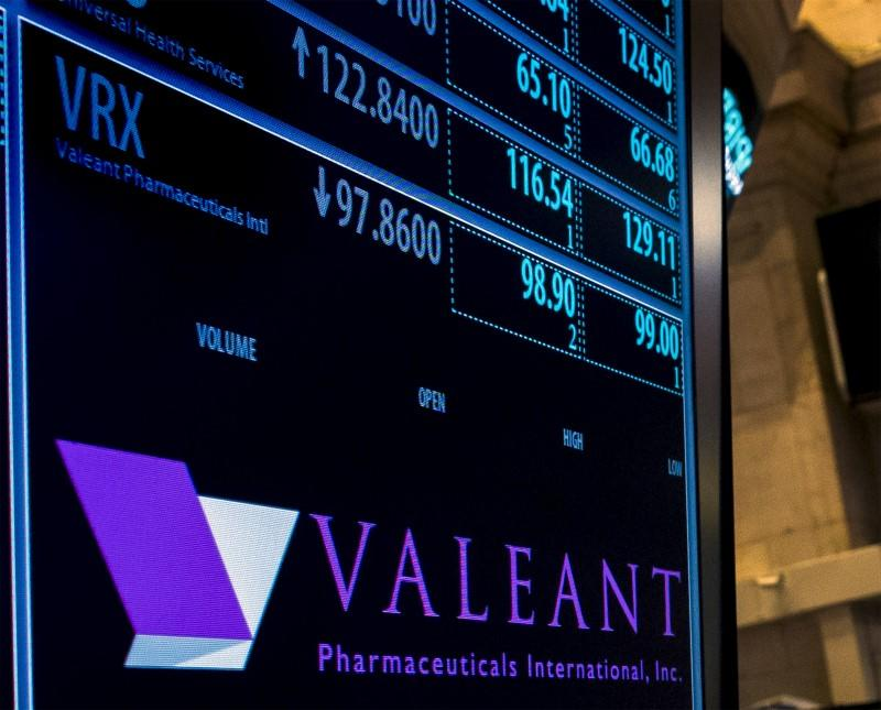 The ticker information for Valeant Pharmaceuticals International Inc. is displayed on a screen above the post where it's traded on the floor of the New York Stock Exchange