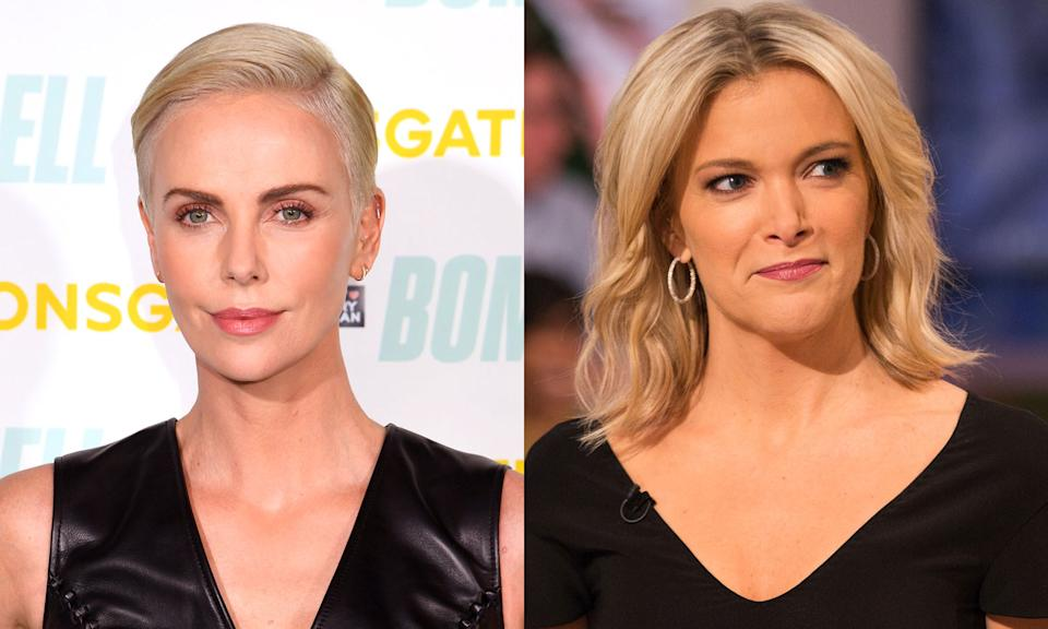 Actress Charlize Theron (L) plays former Fox News anchor Megyn Kelly (R) in the upcoming film Bombshell. (Photo: Getty Images)