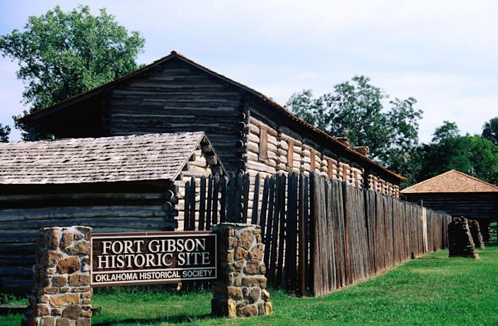 """<p><strong>Established in:</strong> 1824</p><p>As the key to river navigation due to its location, <a href=""""https://www.okhistory.org/sites/fortgibson"""" rel=""""nofollow noopener"""" target=""""_blank"""" data-ylk=""""slk:Fort Gibson"""" class=""""link rapid-noclick-resp"""">Fort Gibson</a> was an important spot in the westward expansion of the US. It was established in 1824 as a way to keep the peace between the Osages and Cherokees, and was a home to many of the nation's leaders. It was a starting point for many military expeditions, but was abandoned in 1857, only to be opened back up during the Civil War. </p>"""