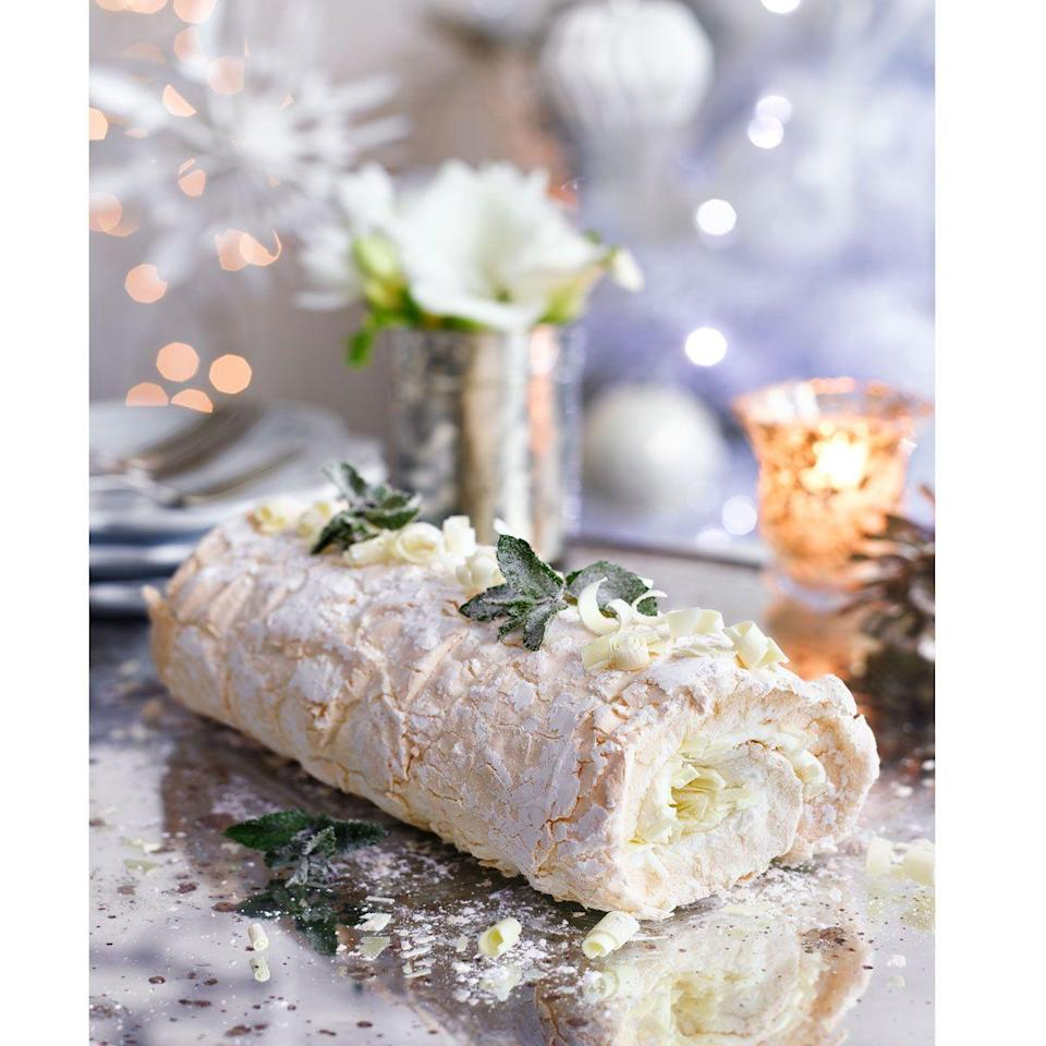 """<p>It's hard to resist such pillowy perfection! If you're not a fan of peppermint, just leave it out.</p><p><strong>Recipe: <a href=""""https://www.goodhousekeeping.com/uk/christmas/christmas-recipes/a558377/minty-white-chocolate-meringue-roulade/"""" rel=""""nofollow noopener"""" target=""""_blank"""" data-ylk=""""slk:Minty white chocolate meringue roulade"""" class=""""link rapid-noclick-resp"""">Minty white chocolate meringue roulade</a></strong></p>"""