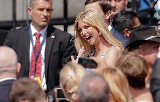 <p>Ivanka Trump smiles and waves as she arrives with her husband Jared Kushner, senior advisor of President Donald Trump, for President Donald Trump's speech in Krasinski Square, in Warsaw, Poland, Thursday, July 6, 2017.(Photo: Petr David Josek/AP) </p>