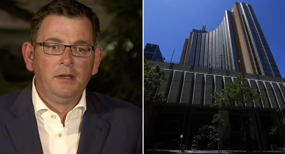 Daniel Andrews holds a press conference after a worker at the Grand Hyatt tested positive for coronavirusl.