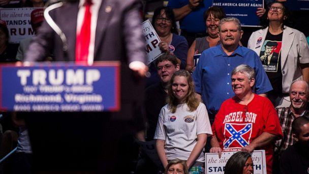 PHOTO: A man wears a shirt with a confederate flag on it as Republican Presidential candidate Donald Trump speaks during a rally at the Richmond Coliseum in Richmond, Va., June 10, 2016. (Jabin Botsford/The Washington Post via Getty Images)