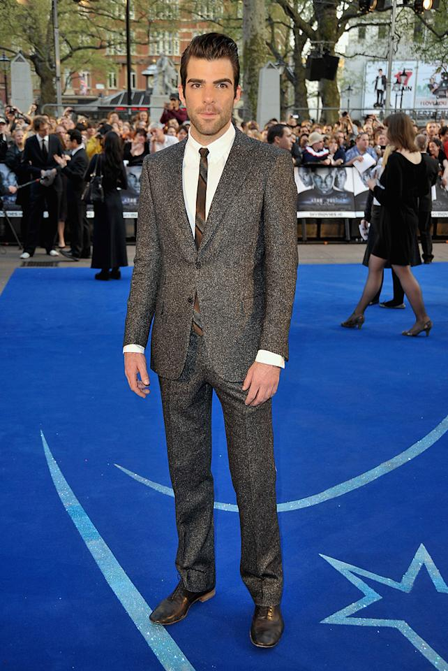 "Zachary Quinto  ""Star Trek"" London premiere  Grade: D-    Did Zachary Quinto find this tweed throwback in his grandfather's closet? The tie too?"